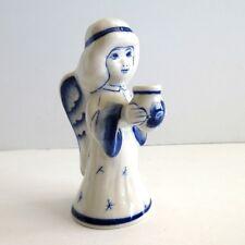 """Gzhel Russian Blue White Angel Porcelain 4""""  tall holding vase or candleholder"""