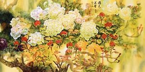 HANDPAINTED ORIGINAL ASIAN FLORAL ART CHINESE WATERCOLOR PAINTING-Peony flowers