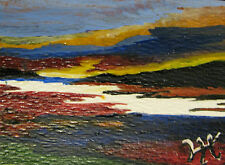 """A184     ORIGINAL ACRYLIC ART ACEO PAINTING BY LJH  """"SUNRISE AT SNAKE RIVER"""""""