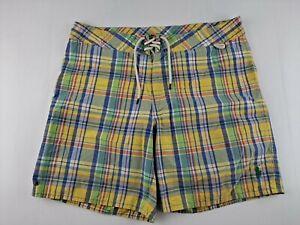 Vintage Polo Ralph Lauren Men 34 Yellow Plaid Swim Trunk Drawstring Mesh Lined