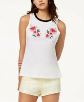Carbon Copy Floral-Embroidered Tank Top White XL