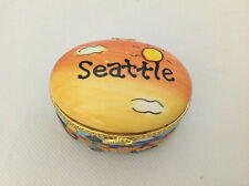 Seattle Washington Souvenir Trinket Box Hinged Porcelain Ring Box Vintage