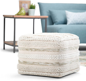 SIMPLIHOME Sommer Square Pouf, Footstool, Upholstered in Natural Handloom Woven