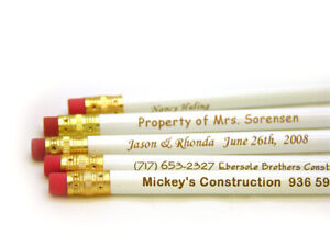 Personalized 14 White Pencils