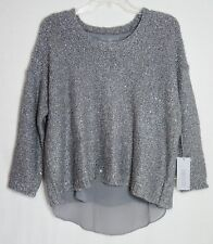 NWT WOMEN'S SZ L 12-14 JENNIFER LOPEZ GRAY SILVER LUREX & SEQUIN SHIMMER SWEATER