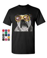 Bulldog Wearing Glasses T-Shirt Cute Dog Swag Pet Lovers Urban Mens Tee Shirt