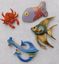 Lot of 4 Pins Brooch Carolee Pollock Fish, Angel Fish, Crab Korea, Blue Anchor