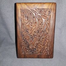 """Carved Hard Wood Urn for small Pets.  6""""×4×3"""" Beautiful Maybe Burlwood ?-Tater"""