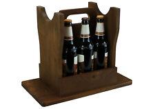 Flaschenträger - Bierhocker aus Holz, Dunkelbraun - für 6 Flaschen - Geschenk