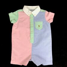 Ralph Lauren Polo Baby Shortall Colorblock One Piece Outfit Infant Size 6M