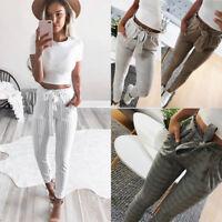 Fashion Women High Waist Pencil Pants Elastic Drawstring Striped Casual Trousers