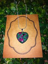 Ruby In Zoisite Heart Crystal Healing Gemstone Sterling Silver Pendant Necklace