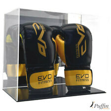 More details for boxing glove display case - double portrait (with mirror backing) - black base