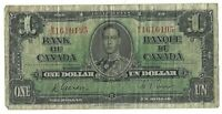 Bank of Canada 1937 M/A Prefix Gordon Towers 1 one Dollar Bank Note 15-219