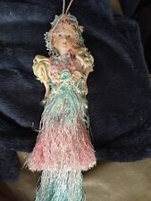 Shabby Chic Hanging Porcelain Doll With Faux Pearls And Crystals Dangling