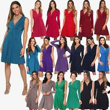 Womens Ladies V Neck Dress Knee Length Mini Ruched Pleated Swing Top Party