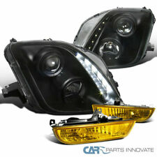 97-01 Fit Honda Prelude LED Black Projector Headlights+Yellow Fog Lamps+Switch
