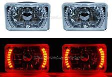 "4X6"" Red LED Halo Angel Eye Headlight Halogen Headlamp 55/60W Light Bulbs Pair"