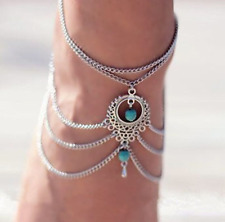 Silver Anklet Turquoise Beads Ankle Chain Plated Multi-Layer Beach Foot Bracelet