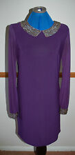 NEW Sz 10 Wallis Aubergine Purple Dress Chiffon Sleeves gold Bead Collar & cuffs