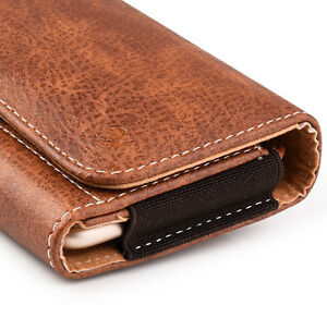 for T-MOBILE REVVL PLUS - Brown Leather Belt Clip Horizontal Pouch Holster Case