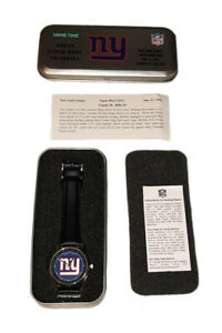 New York Giants NFL Game Time Great Super Bowl Victories Leather Band Watch