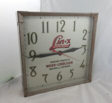 Vintage Lin-X Clear Gloss Wood Linoleum Floor Advertising Clock