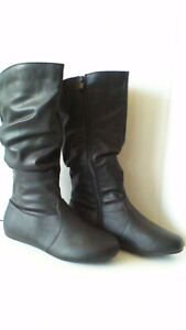 New Women's Mid Calf Slouchy Black Boots 5, 6.5, 7