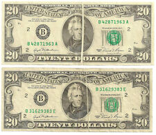 Two $20 1981 Federal Reserve Note Major Printed Fold Errors Bills Are Crisp