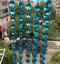 5M 14mm Aqua Octagon Crystal Bead Wedding Cake Decorative Garland Chain Strand
