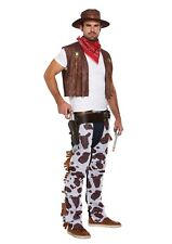 Mens Wild West Rodeo COWBOY FANCY DRESS COSTUME Hat Bandana Chaps Waistcoat