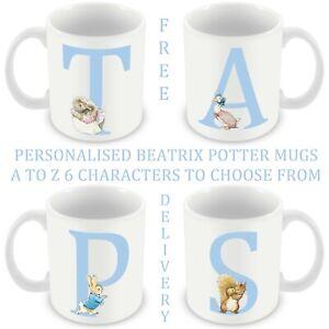 Beatrix Potter Mug Personalised A to Z Letter Monogram cup 6oz & 11oz Gift