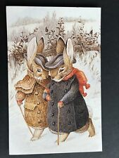 TWO RABBITS IN THE SNOW BEATRIX POTTER POSTCARD THE WORLD OF PETER RABBIT