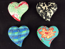 Heart Charms Comforting Clay Handcrafted Pocket Choice of 4 Styles/Patterns NEW