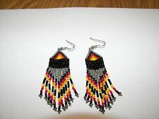 """Seed  Bead  Earrings NEW Navaho greyish brown  Handmade 3 1/2 x 1""""  wow"""