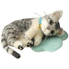 Silver Mackerel Tabby & White - Animal Mascot Kit Wool Needle Felted Cat Kitty