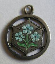 Antique Art Nouveau German Silver & Enamel Forget Me Not Flower Charm ~ So Sweet
