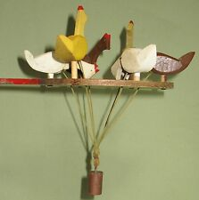 VINTAGE COLLECTIBLE ORIGINAL HAND CARVED 'POP-UP' CHICKENS WOOD STRING WEIGHTED