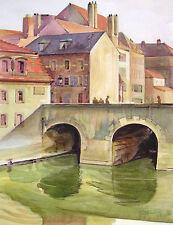 "Unbek. unleserlich Faßbender (?) Aquarell ""Metz am Mühlen Kanal"" 1943 Lothringen"