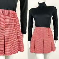 VINTAGE 60s 70s RED WHITE HOUNDSTOOTH PLEATED MOD GOGO MINI SKIRT 8