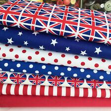 Bundle 7 fat quarters patriotic flags & union jack 100 % cotton poplin