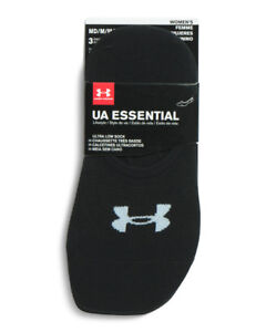 Under Armour Women's Ultra Low Liner Socks 3 Pack Black Essential Lifestyle New