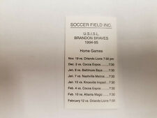 Brandon Braves 1994/95 USISL Indoor Soccer Pocket Schedule Card