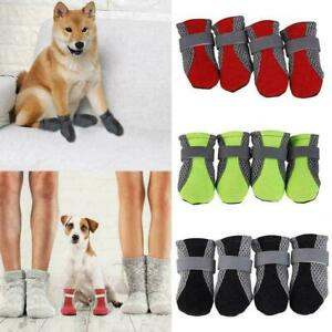 4Pcs/Set Anti-slip Soft Mesh Pet Dog Puppy Cat Boots Shoes Winter S9W1 L4M2