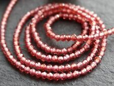 "2mm TINY MICRO FACETED GARNET RONDELLES, 13"", 180 beads"