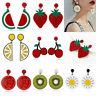 Women Cute Lemon Cherry Fruit Acrylic Ear Stud Earrings Dangle Drop Jewelry Gift