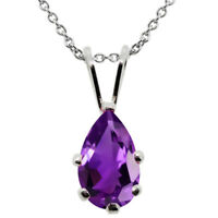 1.00 Ct Pear Shape Purple Amethyst 925 Sterling Silver Pendant With Chain