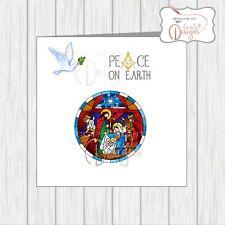 Masonic Christmas Card Masons Xmas Peace On Earth Nativity Dove Acacia Compass