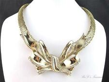 Vintage WHITING & DAVIS Huge BOW Clear Rhinestone Gold Tone Mesh Necklace 19""