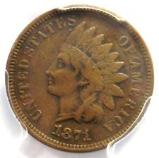 1871 Indian Cent 1C - PCGS XF Details (EF) - Rare Date Certified Penny!